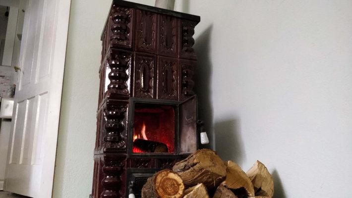 terracota stove fire burning